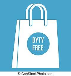 Duty free shopping bag icon white