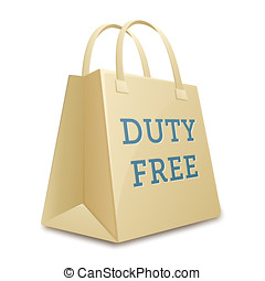 Duty free shopping bag.  illustration