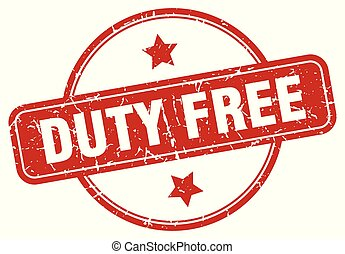 duty free sign - duty free vintage round isolated stamp