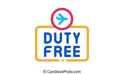 duty free animated icon on white background