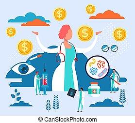 duur, plat, concept., vector, illustratie, ontwerp, spotprent, grafisch, geneeskunde