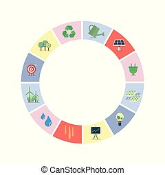 duurzaam, vorm, set, cirkel, iconen