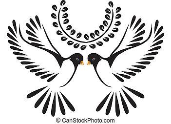 duva, eller, fågel, i flykt