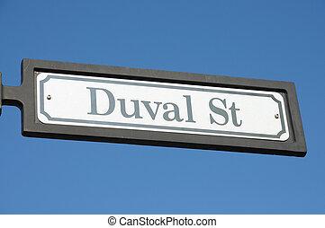 Duval street sign in Key West, Florida Keys