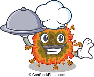 Duvinacovirus as a chef cartoon character with food on tray
