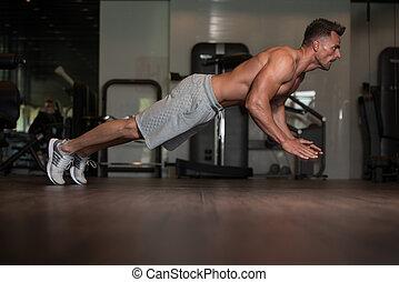 duw, bodybuilder, extreem, ups, vloer