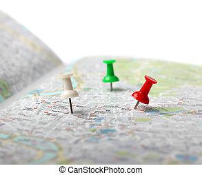 duw, kaart, reis bestemming, spelden