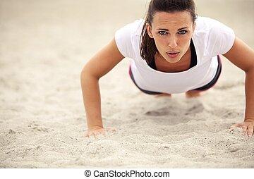 Duw, vrouw, strand, op, Oefening