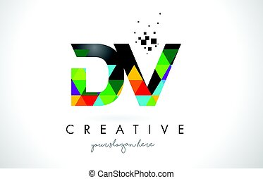 DV D V Letter Logo with Colorful Triangles Texture Design Vector.