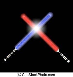 dva, červeň, i kdy modré nebe, lehký, budoucí, meči, boj,...