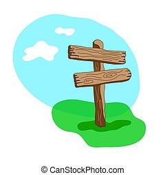 dva, šipka, tvořit, čistý, karikatura, dřevěný, ukazovat