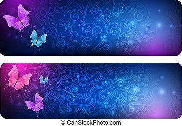 dva, abstraktní, standarta, s, motýl