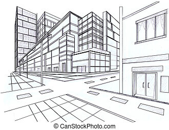 dva, bod, perspektivní, o, budova