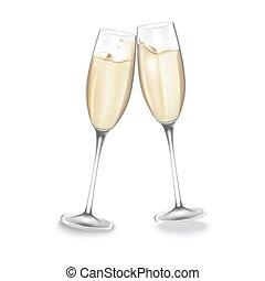 dva, brýle, o, šampaňské.