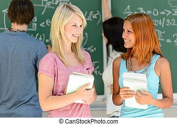 dva, college student, průvodce, mluvící, matematika, lekce