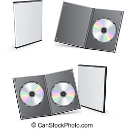 dvd, boîtes, vecteur, 3d