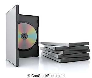 dvd cases - 3d render of a dvd in a case next to a stack of...