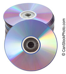 dvd, cd, accatastato, dischi, torre, o