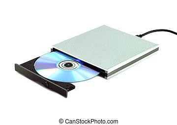 dvd, cd, bärbar, yttre, &