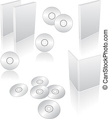 dvd, cd, blu-ray cases - 3d blank dvd, cd, blu-ray cases and...