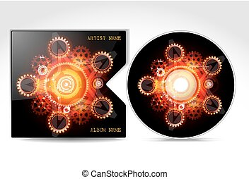 DVD CD Cover Design Template, detailed vector
