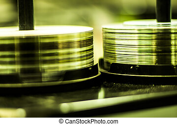 dvd, cd, discos, empilhado