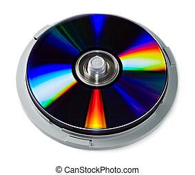 dvd, discos, aislado, blanco, pila