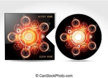 dvd, diseño, cubierta, plantilla, cd