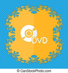 dvd. Floral flat design on a blue abstract background with place for your text.
