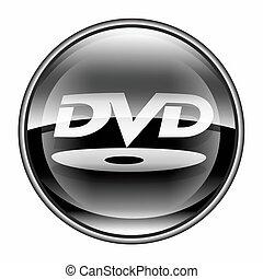 DVD icon black, isolated on white background.
