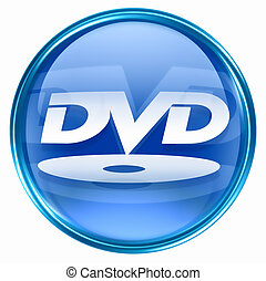 DVD icon blue, isolated on white background.