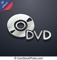 dvd icon symbol. 3D style. Trendy, modern design with space for your text Vector