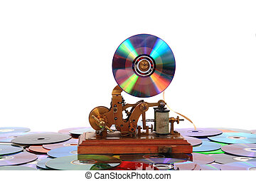dvd, o, viejo, telégrafo, cd