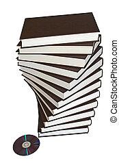 dvd, pila de libro, espiral, uno