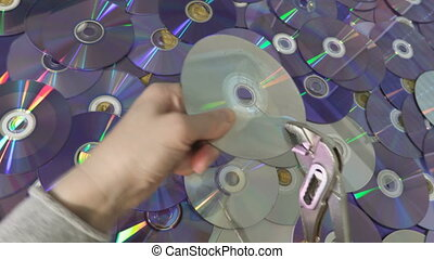 dvd, próba, cd krążek, kobieta, albo, złamany