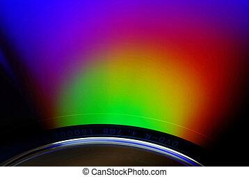 DVD-R macro - Multicolored reflected in DVD-R disc. Macro....