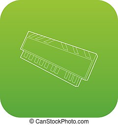 DVD RAM module for the personal computer icon green vector