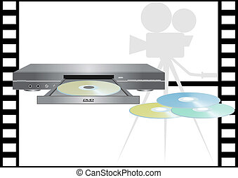 DVD-ROMs and DVD-player - DVD-player on the background film.