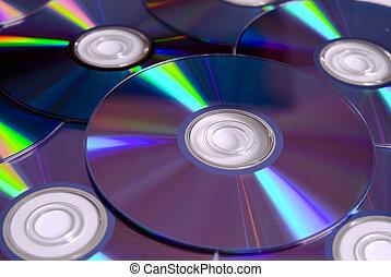 dvd, skivor, stack, /, cd
