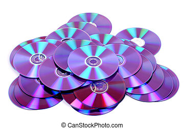 dvd - lots of cd or dvd on white background