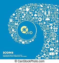 dvd, underteckna, symbol., trevlig, sätta, av, vacker, ikonen, vridet, spiral, in i, den, centrera, av, en, stort, icon., vektor