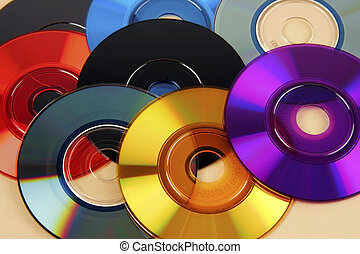 dvd's, coloré, cd, mini, &