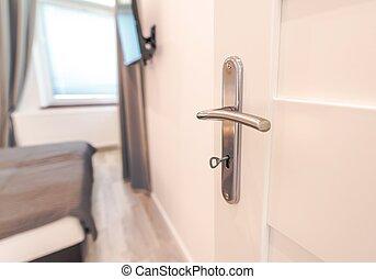dveře, do, jeden, čerstvý, byt