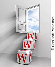 dveře, nebe, pojmový, www