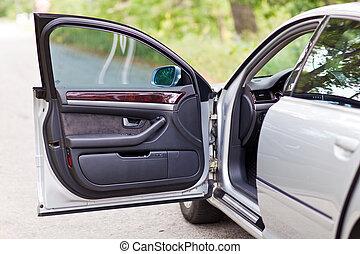 dveře, vůz, moderní, přepych, čelo, nechráněný