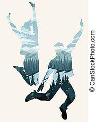 dvojexpozice, šťastný, skákání, národ, silhouettes