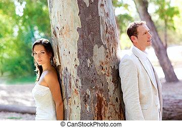 dvojice, šťastný, od vidět velmi rád, v, sad, ve volné přírodě, strom