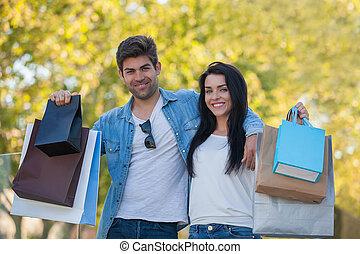 dvojice, dále, shopping vyjíďka, jako, dar