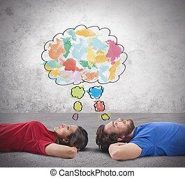 dvojice, kdo, přemýšlet