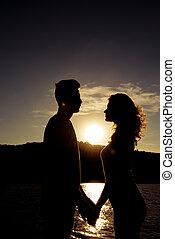 dvojice, majetek, láska, silueta, západ slunce, ruce